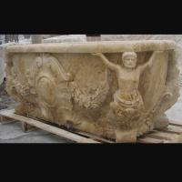 China Hotel Deocration Beige travertine bathtub with figure statue carving for bathroom,china sculpture supplier on sale