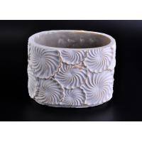 China Decoration flower round cement candle holder Hand made engraving on sale