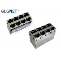 Wholesale Eight Ports RJ45 Jack Connector 1.27mm Terminal Pitch With Light Pipes And EMI Springs from china suppliers