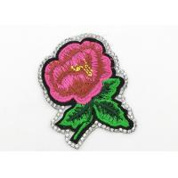 Wholesale Delicate Flower Iron On Patches , Embroidered Flower Appliques Bright Color from china suppliers