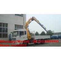 China customized dongfeng 180hp diesel 5tons folded crane boom mounted on truck for sale, knuckle boom with cargo truck for sale