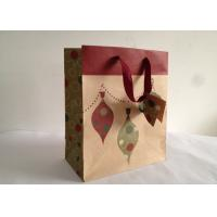 Eco Friendily 150gsm Brown Kraft Carrier Paper Bags with Ribbon and Tags Printed for sale