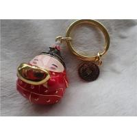 Chinese Style Ceramic Fat Baby Gold Ingot Key Chain In Red Coat for sale