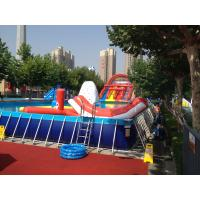 Quality Commercial Metal Frame Pool Red Water Slide Pool With Floating Toys for sale