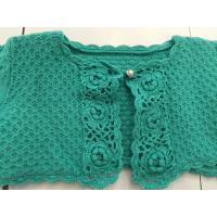 Quality Computer Pattern Knitted Girls Short Cardigan , Green Crochet Sweater Long Sleeve for sale