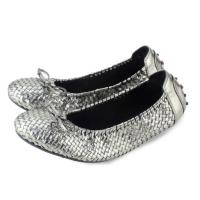 Casual Flat Shoes Bow-Knot Round Toe Slip silver Color Loafer Shoes Spring Comfortable Women Shoes