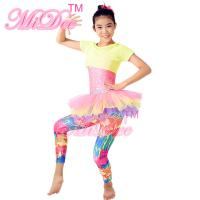 China Amiable Dance Competition Costumes Yellow Pink T shirt Skirt Tiers Slender Leotard on sale