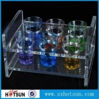 Wholesale China factory wholesale black or clear colored acrylic shot glass serving holder tray from china suppliers