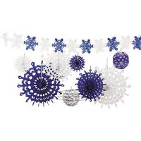 Wholesale Snowflake Tissue Paper Fan Winter Hanging Party Home Decorations from china suppliers
