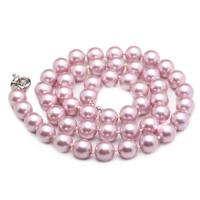 Wholesale Luxury Luster Purple Round 10mm Shell Pearls Necklace 22 inches (N10633) from china suppliers