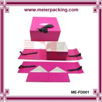 Wholesale Collapsable color cosmetic box, ribbon design closure paper folding box ME-FD001 from china suppliers