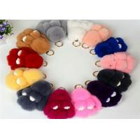 13-20cm Fluffy Bunny Keychain With 100% PP Cotton Filling / Real Rabbit Fur