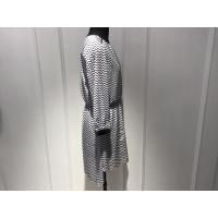 Quality Women Black And White Print Dress , Long Sleeve V Front Dress Spring / Autumn for sale