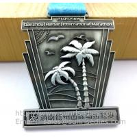 Wholesale Antique pewter sports event metal medal with ribbon, vintage pewter metal ribbon medals from china suppliers