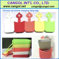 China silicone cell phone charging hang bag for sale