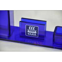 Quality Table Top Brochure Stands Custom Blue Plastic Office Supplies Pen Holder Transparent for sale