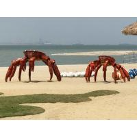 China Art Animal Crab Metal Sculpture Painted Color Surface As Outdoor Beach Decoration for sale