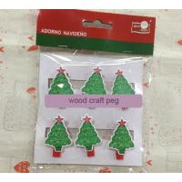 Wholesale Christmas gift wood Pegs Pack of 6 Wood Craft Clothespins Christmas tree from china suppliers