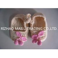 Quality Khaki Crochet Baby Boat Shoes/ Pink Cherry Accessories Knitted Baby Girl Shoes for sale