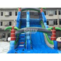Quality Summer Palm Tree Inflatable Outdoor Water Slide With Printing for sale