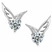 Wholesale Fashion Silver Plated Wing Stud Earrings with Cubic Zircon (EESTUD02) from china suppliers