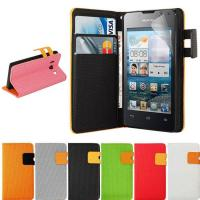 China Orange Flip Leather Cover Mobile Phone Cases with Magnet For Huawei Ascend Y300 on sale