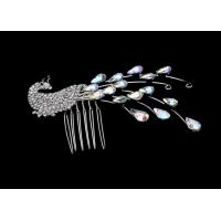 OEM / ODM Rhinestone Peacock Jewelry Crystal Bridal Hair Comb Fashion Jewelry H00007 for sale