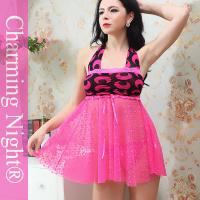 Wholesale Fashion Backless Printing Mature Women Sexy Nylon Lingerie Nighties Sleepwear from china suppliers