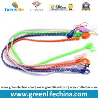 Wholesale Promotional colorful plastic zipper lanyard leash w/mobile phone loop strap from china suppliers