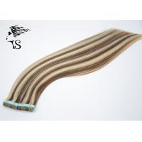Long Silky Straight Tape In Indian Human Hair Extensions Zebra Stripes Type