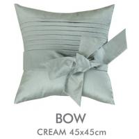 China Embroidery Poly Linen Silk Cushion Covers Decorative Pillow With Handmade Bow on sale