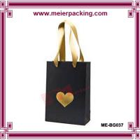 Wholesale Ribbon black paper bag with hot stamping goldenfoil ME-BG037 from china suppliers