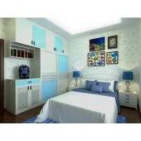 Wholesale Home White / Light Blue Bedroom Closets And Wardrobes Hinged Door With Mirror from china suppliers