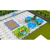 China Blue And Green Heat Sealed Inflatable Floating Water Park For Children on sale