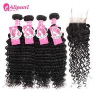 Wholesale 100 Virgin Deep Wave Brazilian Weave Bundles With Lace Closure 4×4 from china suppliers