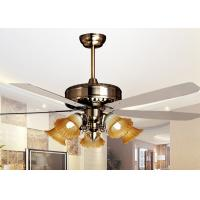 China 500W Iron , Glass 5 Leaf Modern Ceiling Fan Light Fixtures 5 Light 56'' , Coffee or White on sale