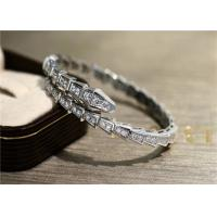 Wholesale Bvlgari Serpenti one-coil slim bracelet in 18kt white gold with full pavé diamonds from china suppliers
