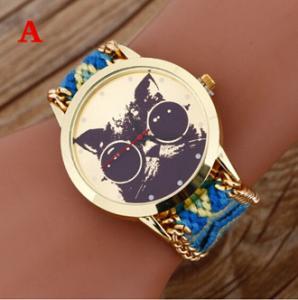 Buy cheap Brand women Handmade Braided Cat Friendship Bracelet Rope Watch GENEVA Watch Ladies Quarzt Watches relogio feminino from wholesalers