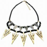 Wholesale Fashionable Necklace, Arrows-shape Alloy Pendant, Decorated with Black Resin from china suppliers