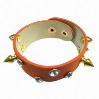 Wholesale Orange PU Leather Bracelet with Metal Accessory from china suppliers