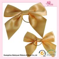 China Gold  pre tied elastic bows for boxes , beautiful ribbon hair bows on sale
