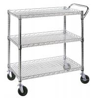 China Classic Commercial - Grade 3 Shelf Wire Utility Cart Adjustable Every Shelf Height for sale