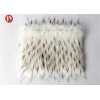 Wholesale White Plush Faux Fur Fabric With Black Tip Collar Tissavel Boots Toys 1100 Gsm from china suppliers