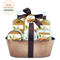 Mild Body Care Bath Gift Set / Chocolate Bubble Bath Gift Set Willow Basket for sale