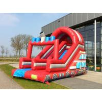 Wholesale Firetruck Theme Durable Outdoor Giant Bouncy Slide With Plato PVC Tarpaulin from china suppliers