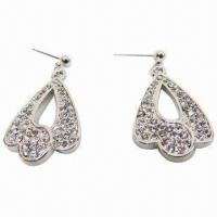 Wholesale Fashionable Rhinestone Stud Earrings, Silver Plating from china suppliers