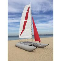 Wholesale White / Red Inflatable Sailing Catamaran 6.05sqm Mainsail 2.2m Width With Two Sails from china suppliers