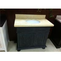 China Absolute Black Bathroom Vanity Cabinet With Sunny Beige Marble Top on sale