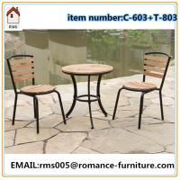 round top wood table with two chair for outdoor  C603+T803 for sale
