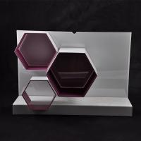 Wholesale White / Red Makeup Acrylic Display Stand 570×162×390 mm With Hexagon Shape from china suppliers